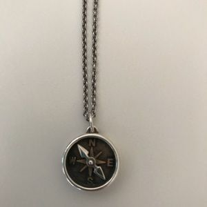 """James Avery 16"""" Compass Necklace Sterling/Bronze"""